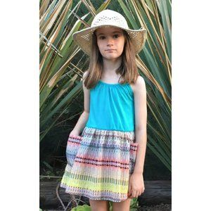 NEW Girls Turquoise Multi Girls Sun Dress 4T 6